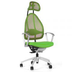 Bureaustoel Open Art Groen, armleuning en voetenkruis zilver